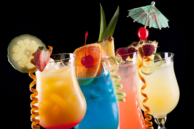 Tequila Sunrise, Blue Lagoon, Rum Runner, and Bahama Mama cocktails