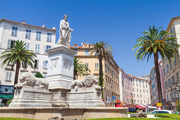 Statue of Napoleon Bonaparte in Roman garb, historical center of Ajaccio, Corsica
