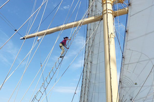Climbing the mast we try it on star clippers star flyer cruise climbing the mast on star flyer sciox Gallery