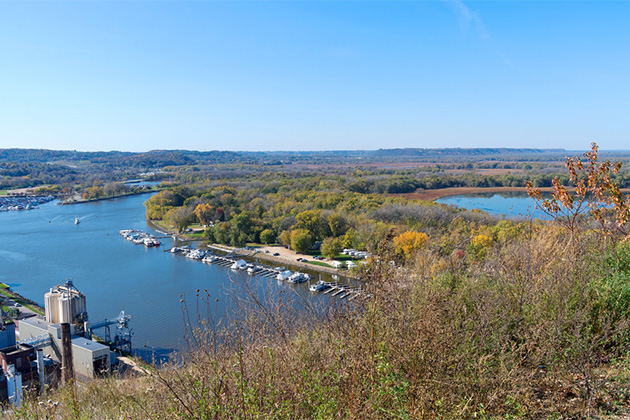 Aerial view of Mississippi River and marina in Wisconsin from atop barn bluff in Red Wing, Minnesota