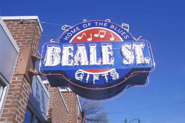 Neon sign on Beale Street, home of the Blues, Memphis, Tennessee