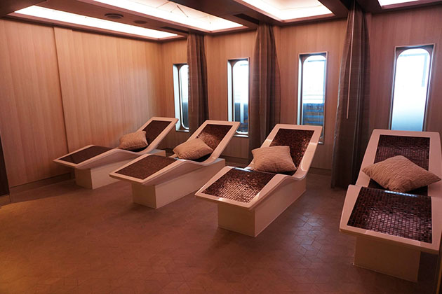 Ceramic loungers in the spa on Regent's Seven Seas Explorer