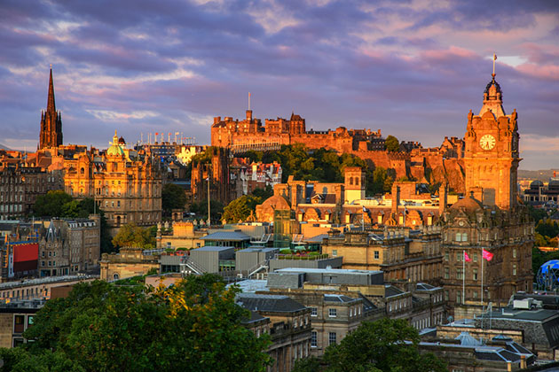 View of Edinburgh castle from Calton Hill, Edinburgh, Scotland