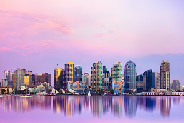 Lovely San Diego skyline at sunset