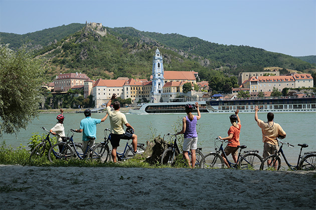 AmaWaterways passengers on a Danube bicycle tour