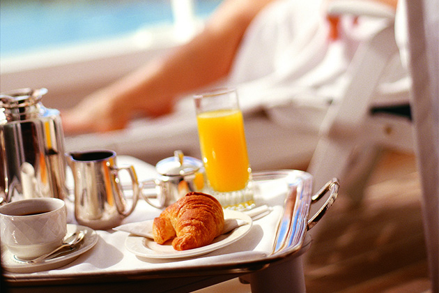 Close up of luxury ship room service breakfast