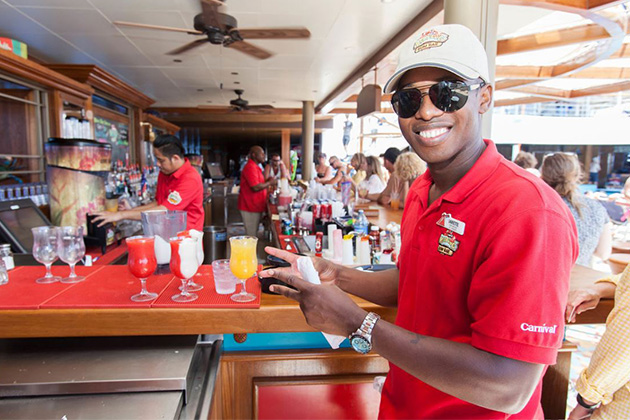 RedFrog Rum Bar waiter on Carnival Valor