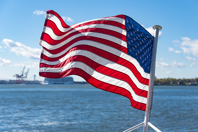 United States of America flag on cruise in the Hudson River