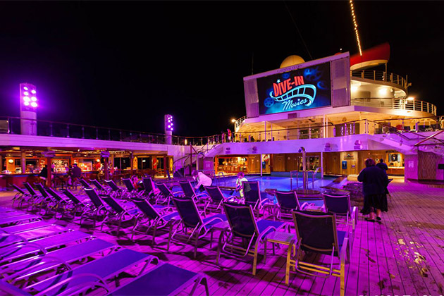 Outdoor Movie Screen at night on Carnival Glory