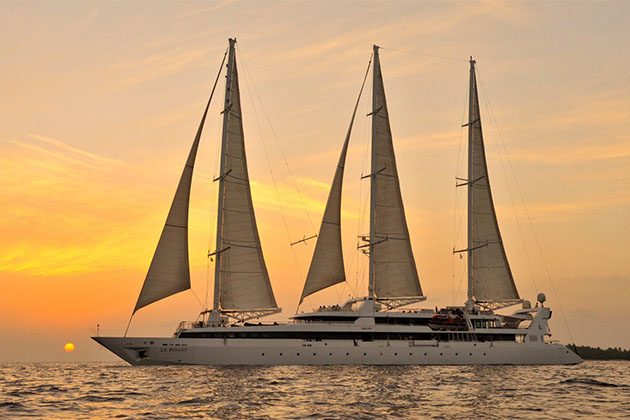 Le Ponant at sunset