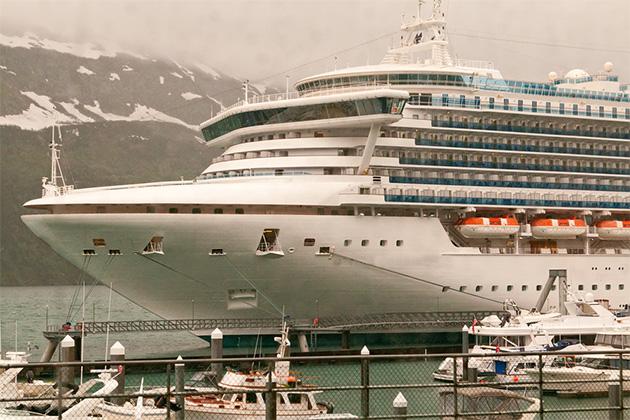 Cruise Ship Anchored in port at Whittier, Alaska