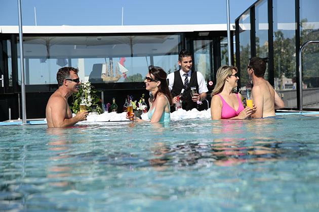 Enjoying the swim up bar on AmaWaterways