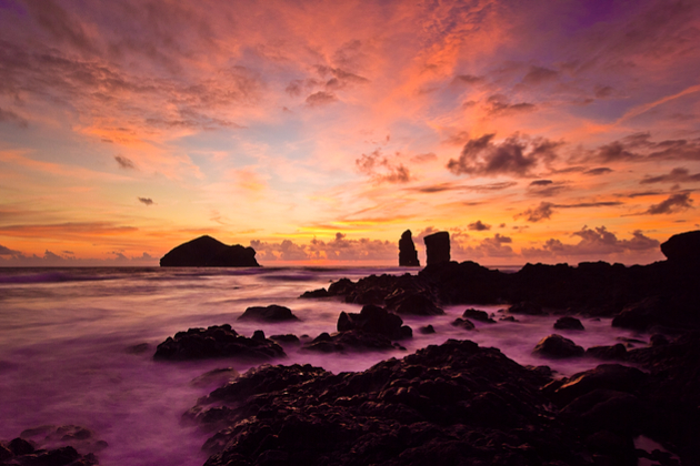 Sunset at the beach of Mosteiros with its islets, Azores islands, Portugal