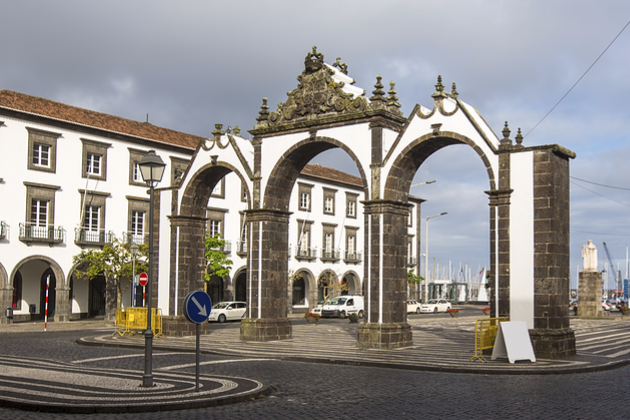 The city gates in Ponta Delgada, Azores, Portugal