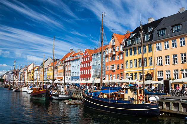 Brightly colored houses of Nyhavn in Copenhagen, Denmark