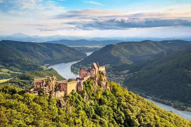 Aggstein castle ruin and Danube river at sunset in Wachau, Austria