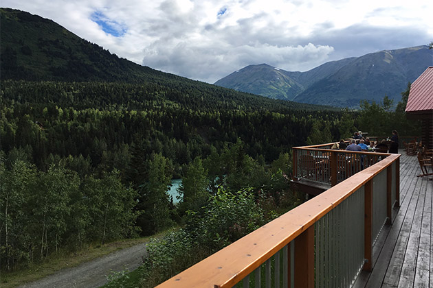 View of the Kenai River from a Kenai Princess Wilderness Lodge deck