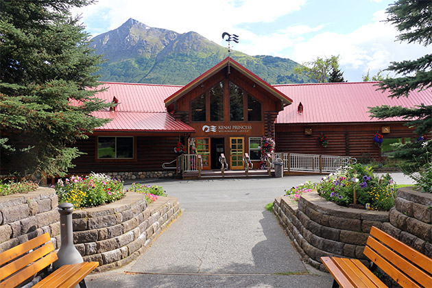 Exterior shot of Princess Cruises' Kenai Princess Wilderness Lodge during a sunny day in Cooper Landing, Alaska