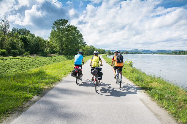 People riding bicycles on a cycle path near Danube River in Austria on a sunny day