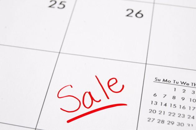 Closeup Of A Calendar With Sale Text