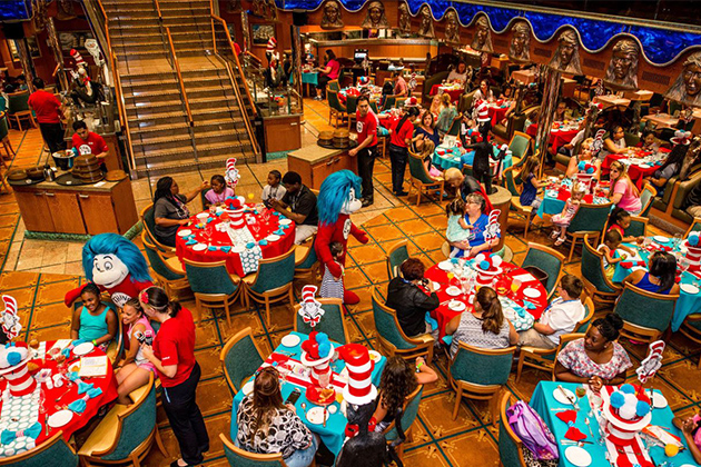 Aerial shot of the Green Eggs and Ham Breakfast on Carnival Victory