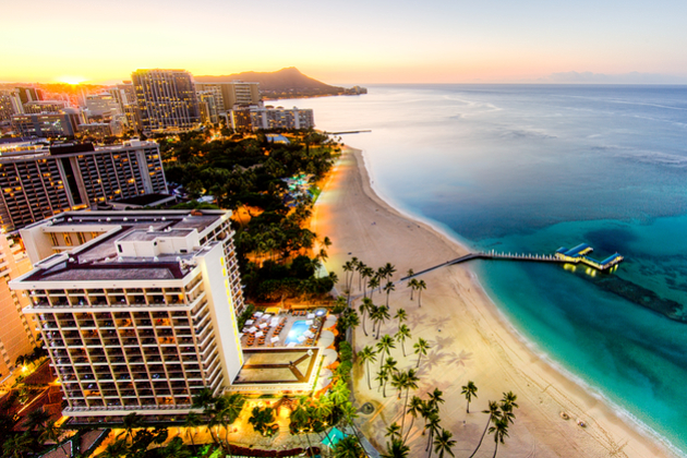 Aerial View of Sunrise at Waikiki Beach