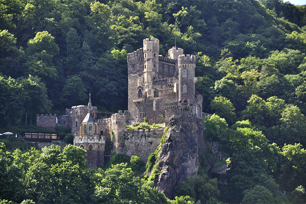 Castle Rheinstein at Rhine Valley in Germany