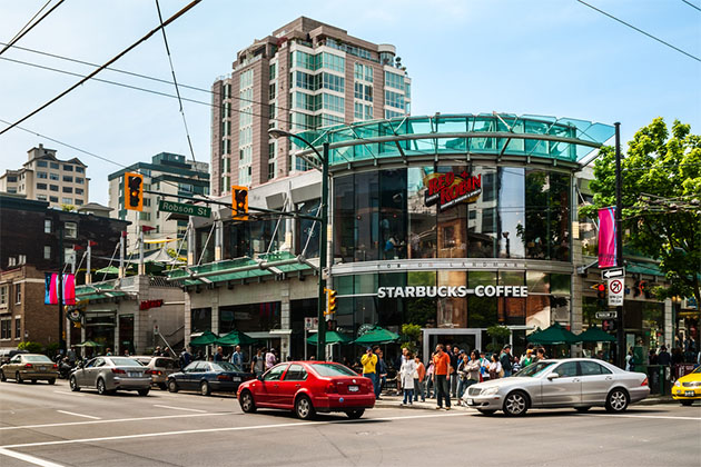 Starbucks Coffee shop at Robson & Thurlow in Vancouver