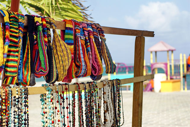 Hair ties and necklaces for sale at a souvenir stand in Ambergris Key, Belize