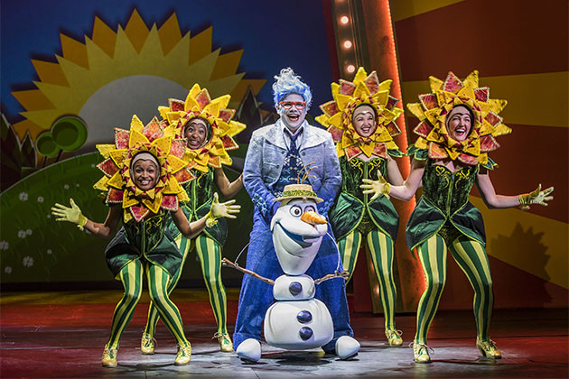 Olaf puppet and costumed actors onboard Disney Wonder for Frozen Musical