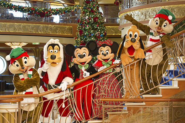 Disney Characters Dressed In Holiday Attire On A Very Merrytime Cruise