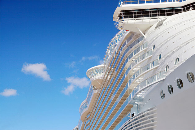 Side view of a large cruise ship