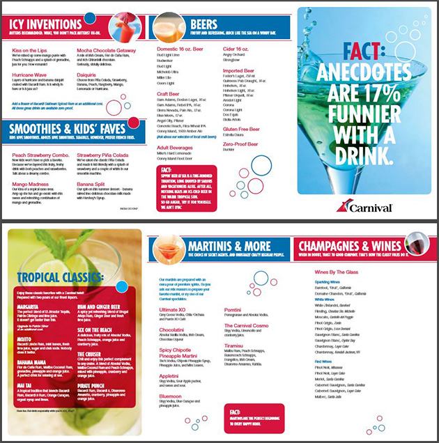 Carnival Drinks menu