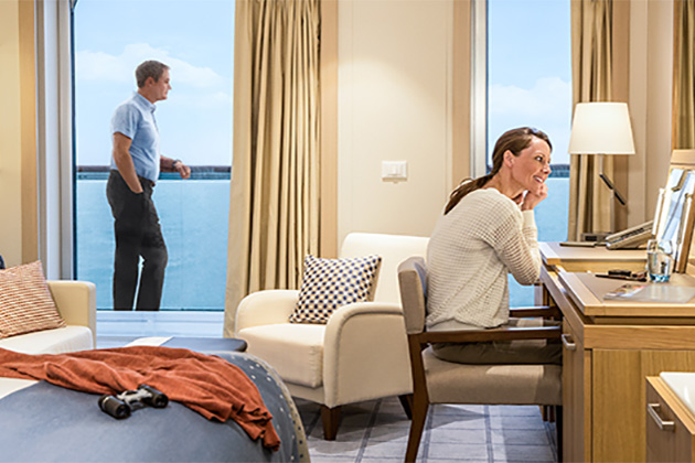 Couple in a cabin on Viking Oceans cruise ship