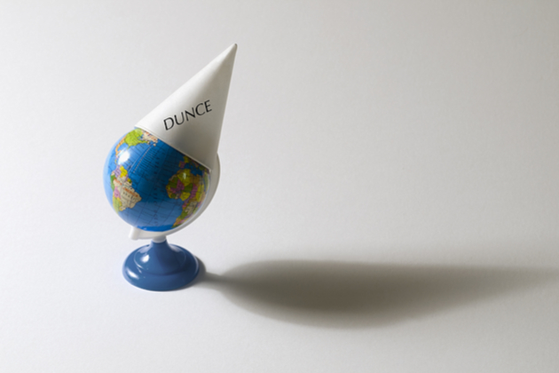 dunce cap on toy globe