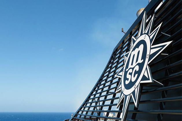 Shot of MSC Divina's exterior at sea