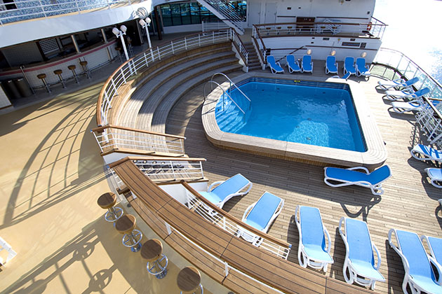 The pool deck on P&O Cruises Ventura