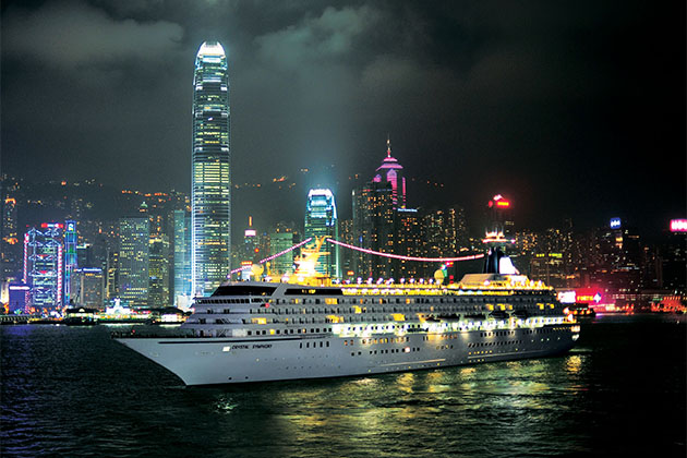 Crystal Symphony in Hong Kong at night