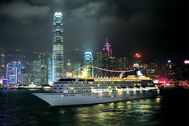 Crystal Symphony in Hong Kong at night