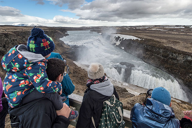 Gullfoss Waterfall tour during a Disney Cruise to Iceland