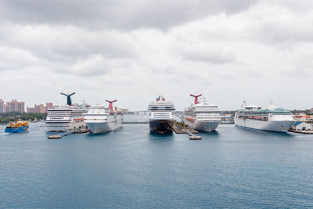 Ships of lined up in Nassau port