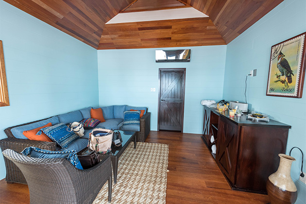 Inside the Beach Cabanas at Harvest Caye