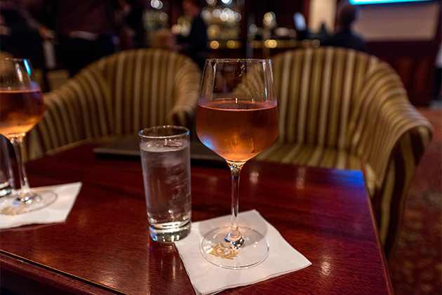 Glass of rose at the Golden Lion Pub on Queen Mary 2