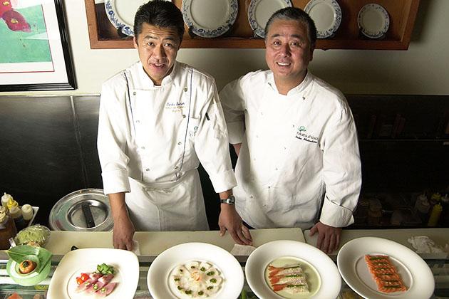 Nobu Matsuhisa with Chef Tamba for Crystal Serenity's Sushi Bar