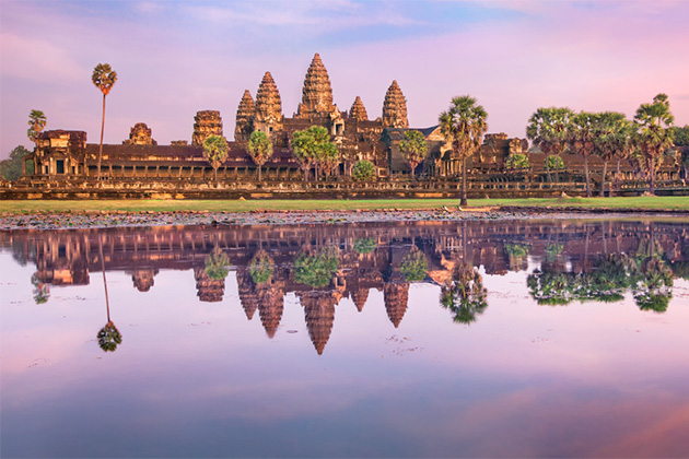 Shot of Angkor Wat at sunset
