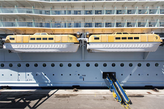 Lifeboats on Allure of the Seas