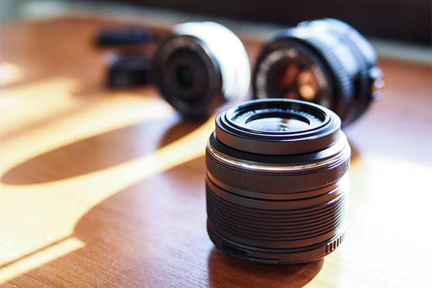 Lens on the desk, shallow in depth of field