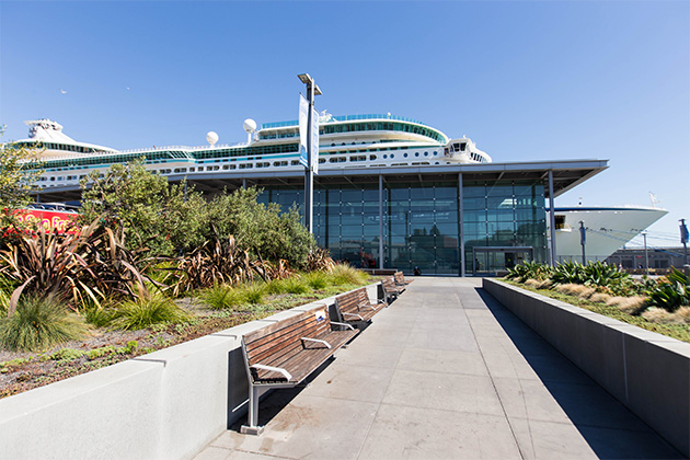 Entrance at the San Francisco cruise terminal with Explorer of the Seas in the background