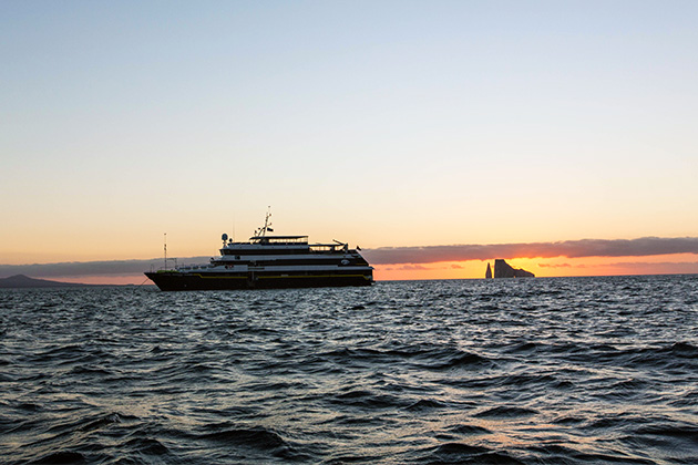 Exterior shot of National Geographic Islander in the Galapagos during sunset