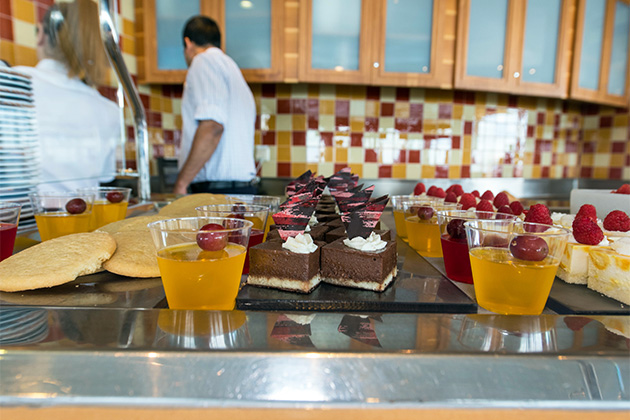 Close-up shot of the desserts at the Windjammer Marketplace buffet on Oasis of the Seas